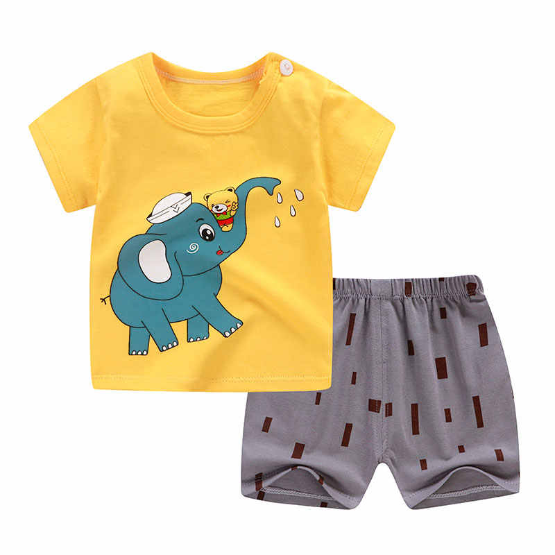 T-Shirt+Short Pants Baby Boy Girls Cotton  Kids Clothing Sets Clothes Outfits Bebes Suits 12M to 5 Years Old 2 PCS Set