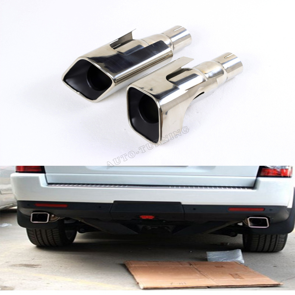 Exhaust Pipe for Range Rover 2pcs Exhaust Muffler Tail Pipe Range Stainless Steel Trim Tail Piece End Pipe Exit Weld for Land Rover Sport as Shown