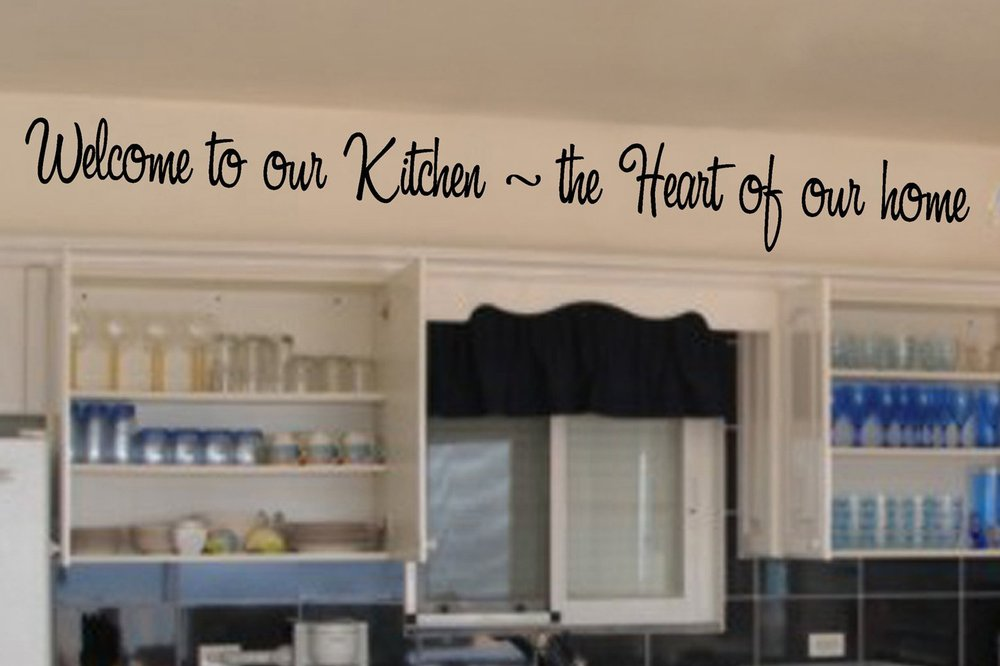 Welcome To Our Kitchen The Heart Of Home English Quote Vinyl Wall Stikers Removable Art Decals Free Shipping In Stickers From Garden