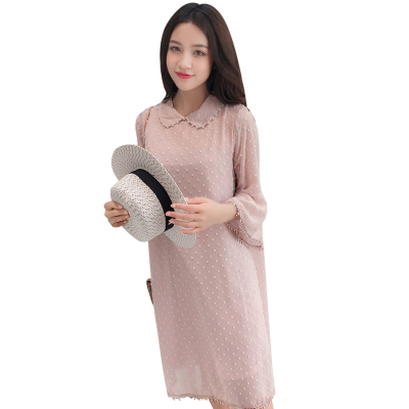 Fashion Beading Chiffon Summer Pregnancy Dress for for Pregnant Women Loose Flare Sleeve  Elegant Maternity Clothes 2019Fashion Beading Chiffon Summer Pregnancy Dress for for Pregnant Women Loose Flare Sleeve  Elegant Maternity Clothes 2019