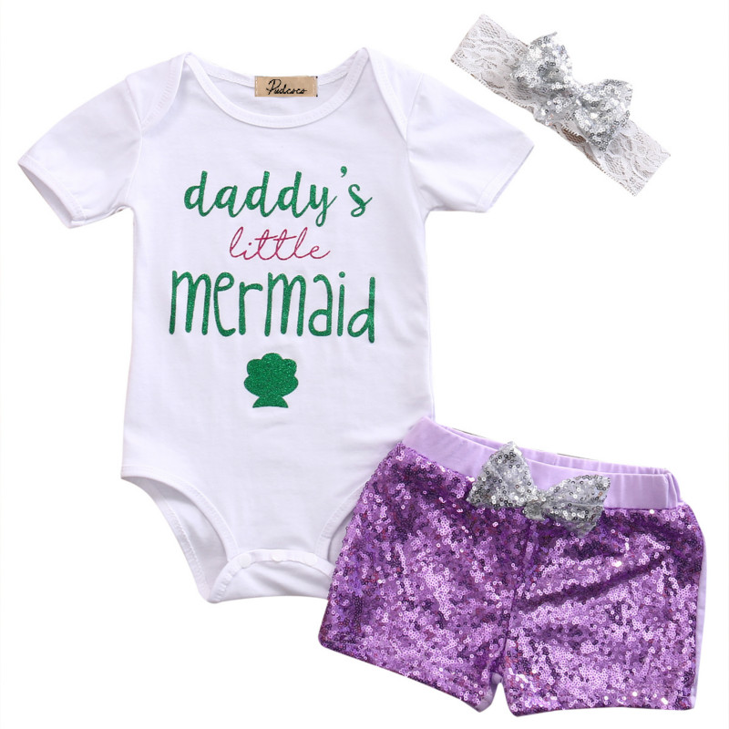 Newborn Infant Baby Girls Mermaid Letter Short Sleeve Cotton Romper Tops+Sequins Bow Shorts Hedband 3PCS Kids Summer Outfits Set