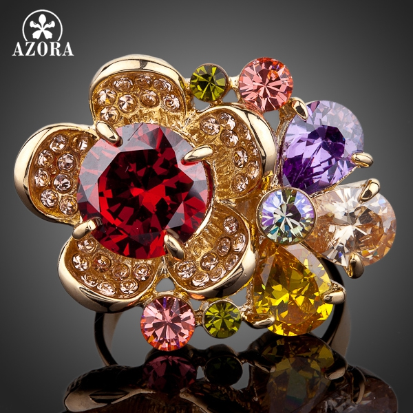 a8d1f524b AZORA Gorgeous Flower Gold Color Multicolour Stellux Austrian Crystal  Adjustable Size Ring TR0061