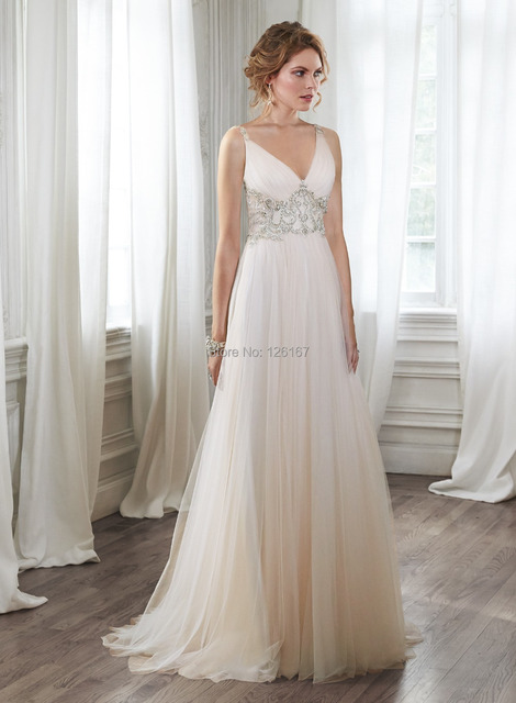 Garden Style Wedding Dresses 2017 New Arrival Bridal Dress Cap Sleeve V Neck Crystal Beads