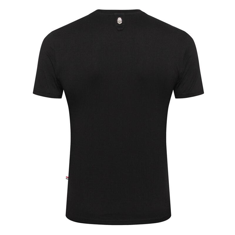 Multimillonario T camisa de los hombres de piel de serpiente nuevo 2019 mercerizado de moda de algodón bordado transpirable alta calidad M 4XL envío gratis-in Camisetas from Ropa de hombre    2