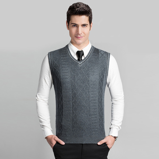 High Quality Classic Solid Color Men\'s Wool Sweater Cable Vest ...