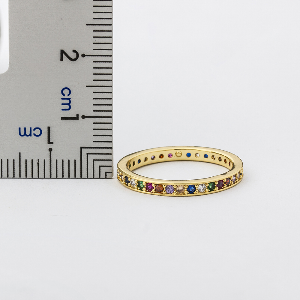 Colorful CZ Eternity Band Ring Thin Skinny Engagement Wedding Birthstone Rainbow Color Classic Simple Round Circle Finger Rings 2