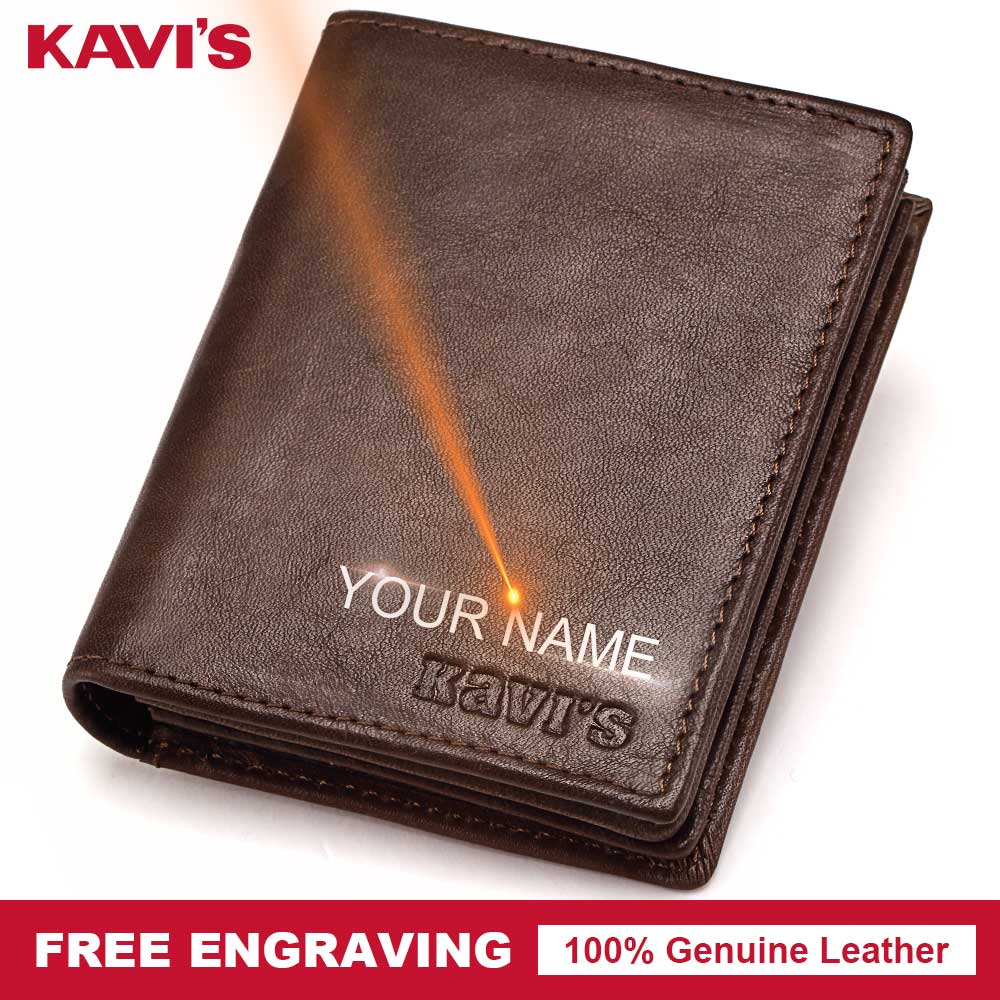 KAVIS DIY Free Engraving 100% Genuine Leather Male Wallet Men Coin Purse PORTFOLIO Money Pocket Perse Valet Gift For Gifts