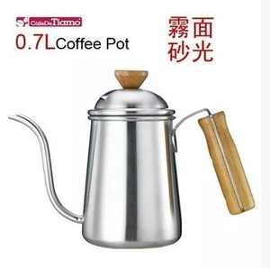 1pcs 0.7L Silver Tea and Coffee Drip Kettle pot with Wooden handle stainless steel gooseneck spout Kettle Barista Kalita syle