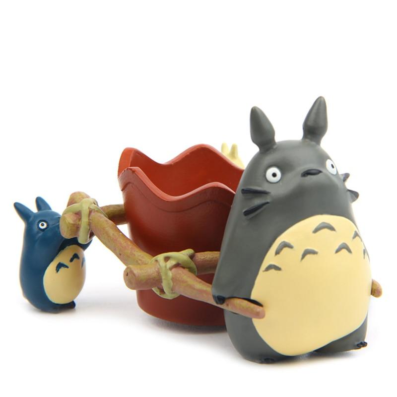 1 conjunto do Studio Ghibli Meu Vizinho Totoro Totoro Brinquedos Puxar Carrinho PVC Action Figure Toy Model Collection para Crianças Presente Para Casa decoração