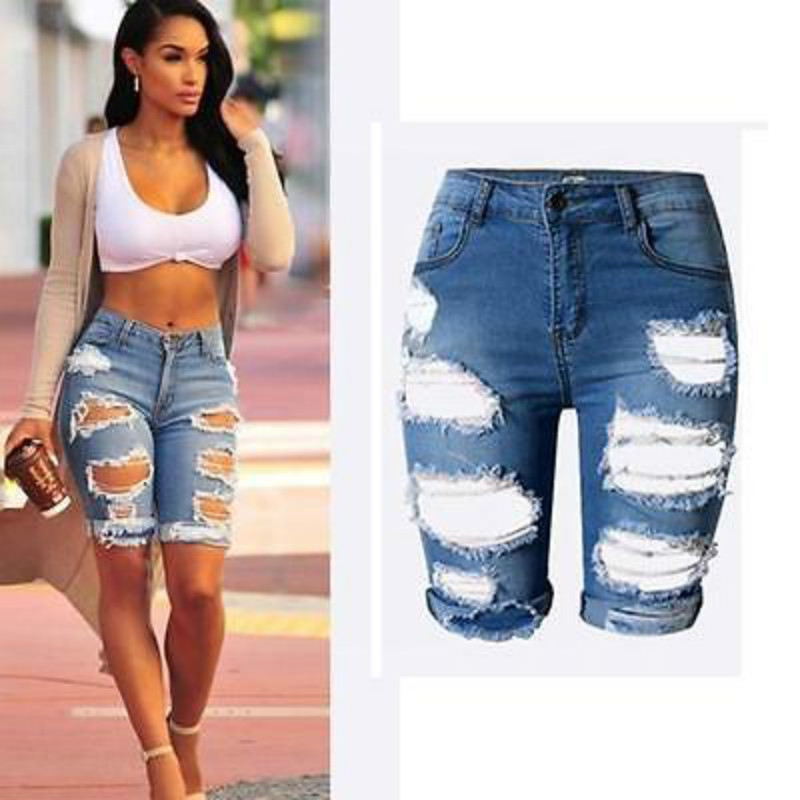 Sexy Womens Elastic Hole Short Pants Denim Shorts Ripped Jeans Trousers
