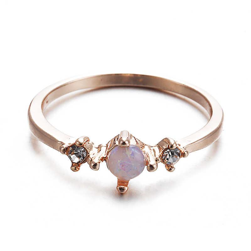 Homod Новый дизайн Белый огненный опал кольцо модное ювелирное женское розовое позолоченный циркониевый кольца Прямая поставка