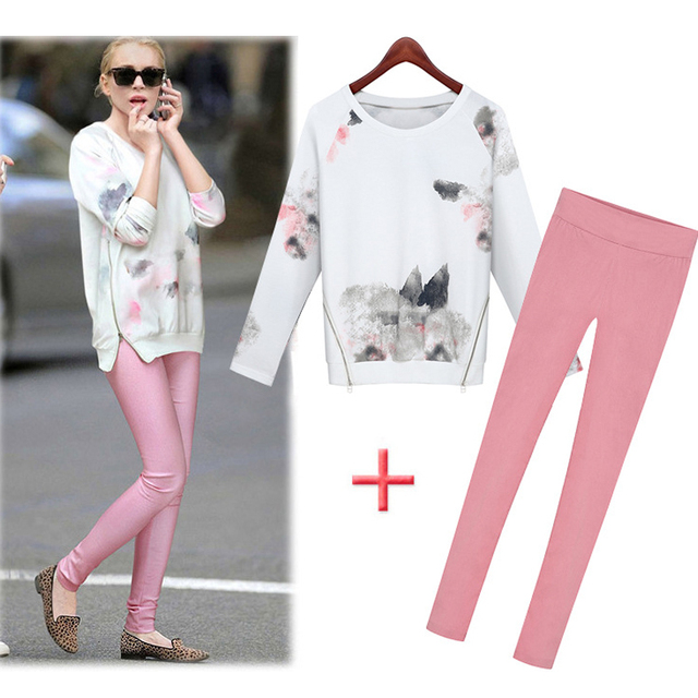 2 Piece Set 2016 Spring New Women Long Sleeve Double Zippers Print Hoodies T Shirt Tops and Cotton Pants Women Two Piece Sets