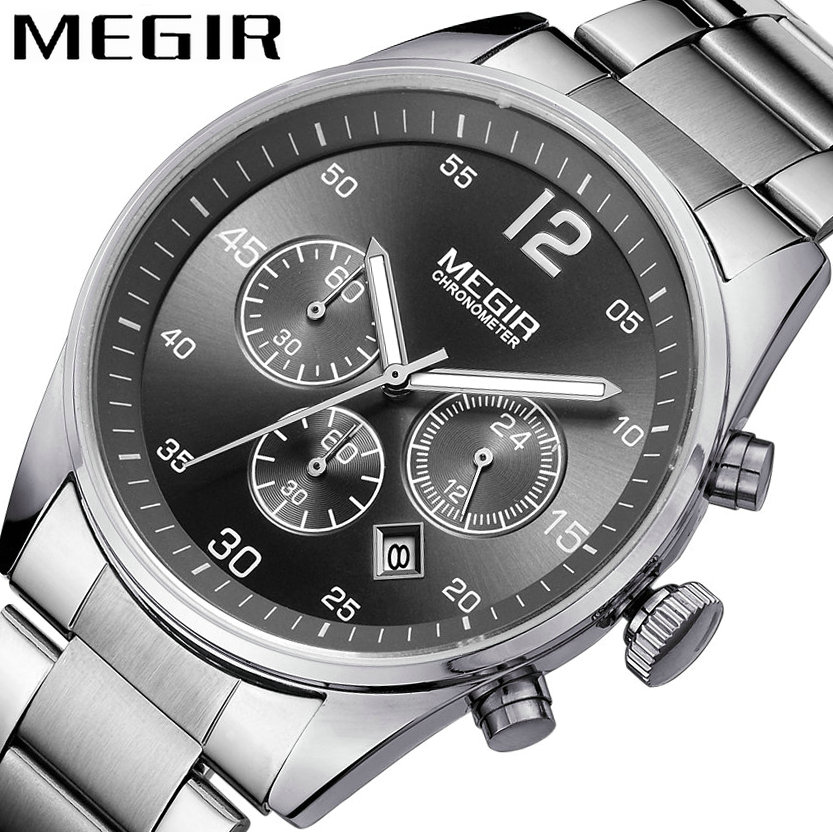 <font><b>MEGIR</b></font> Classic Dress Men Quartz Wtach Clock Stainless Steel Strap Date Display 24H Black Dial Concise Waterproof Wristwatch image
