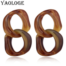 YAOLOGE Irregular Round Acrylic Earrings Fashion Cross Circle Creative Personality Jewelry Bohemian Style For Women Accessories