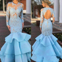 Vintage Mermaid Long Sleeves Lace Appliques Ruffles Pageant Gowns Evening Dress