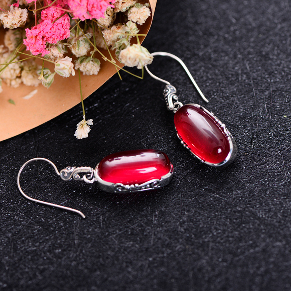MetJakt Natural Red Corundum Drop Earrings Solid 925 Sterling Silver Earring for Women s font b