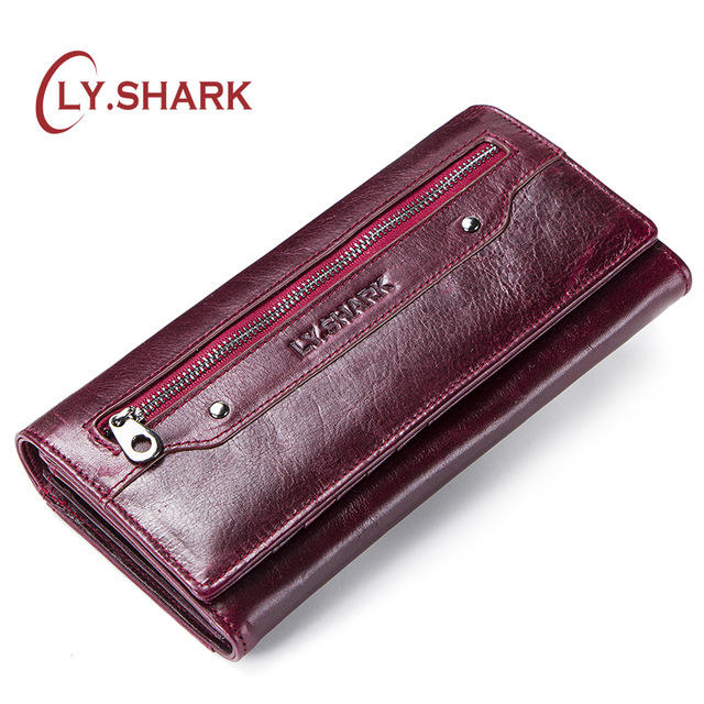 LY.SHARK Genuine Leather Wallet Women Coin Purse Ladies Credit Card Holder Phone Money Bags For Women 2019 Walet Long Clutch Red