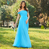 Dressv Blue Long Bridesmaid Dress Off The Shoulder Short Sleeves A Line Tulle Ruched Custom Wedding