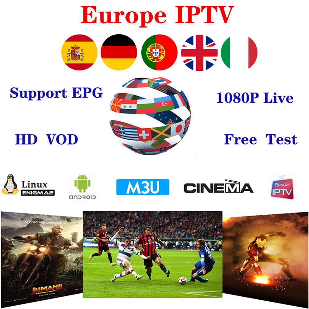 1 year Europe IPTV M3U Subscription 6200 Channels Include Portugal Spain  Hungary France Germany Greece support H96 max TV Box