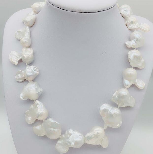 12x22-30mm Big Baroque Reborn Keshi Pearl Necklace z3519 17 30mm white baroque keshi reborn pearl necklace