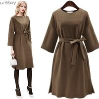 2017 Big Yard Autumn Spring Women Woolen Dress Large Size Ladies Long Sleeve O Neck Female