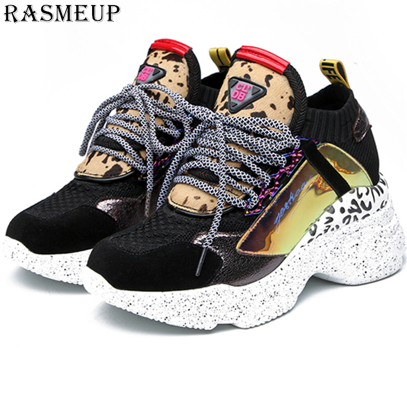 RASMEUP Women Chunky Street Sneakers Knit Thick Soled Increased Women's Sneaker 2019 Spring Breathable Woman Shoes Lady Footwear(China)