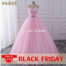 03ade0a5bd3 wuzhiyi Quinceanera Dresses 2018 Pink Ball Gown vestidos de festa longo 15  anos Sweet 16 Dress
