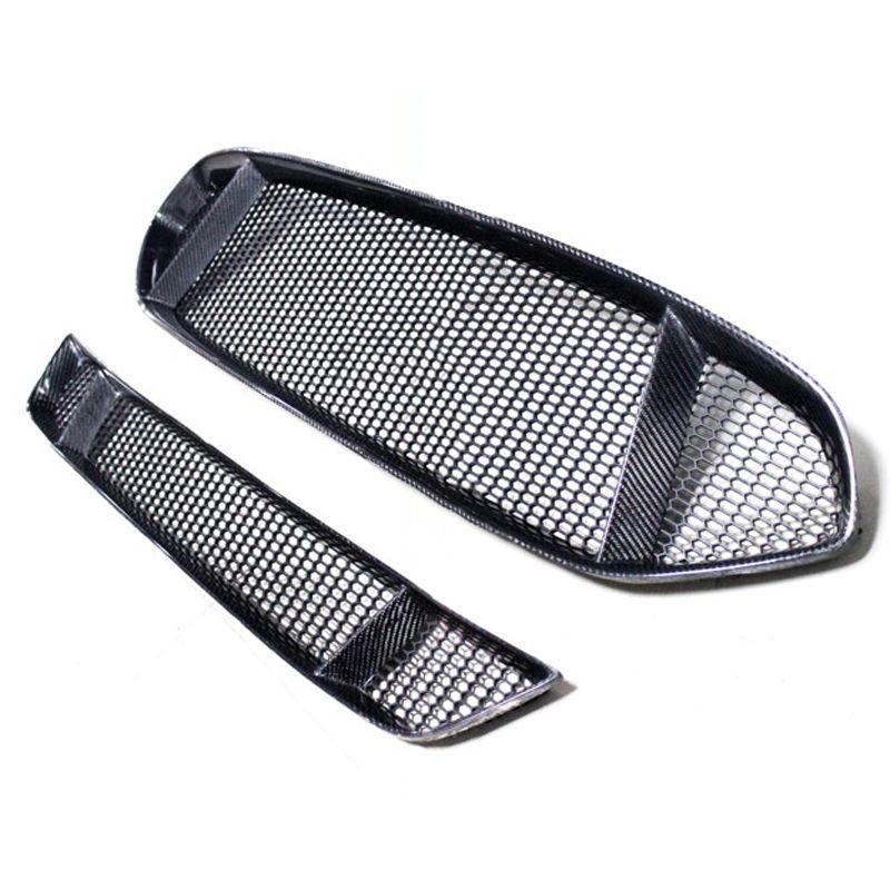 2pcs Front Grille + Bumper Grille Carbon Fiber for Ford Mondeo/Fusion 2013 2016