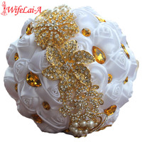 wifelai a 1piece gold brooch bridal hand holding flower bouquets gold crystal pure white silk.jpg 200x200