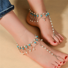 2016 Vintage Silver Women Anklet Lolita Foot Jewelry Pearl Beads Body Chain Turquoise Barefoot Beach Sandals pulseiras femininas