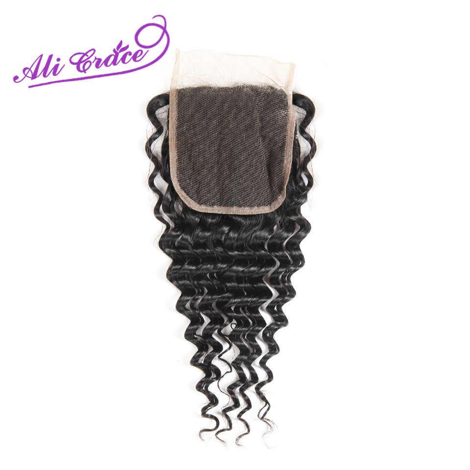 Ali Grace волосы перуанские глубокая волна 3 пучка человеческих волос с кружевом Закрытие 4*4 Бесплатная средняя часть Натуральные Цветные волосы Реми