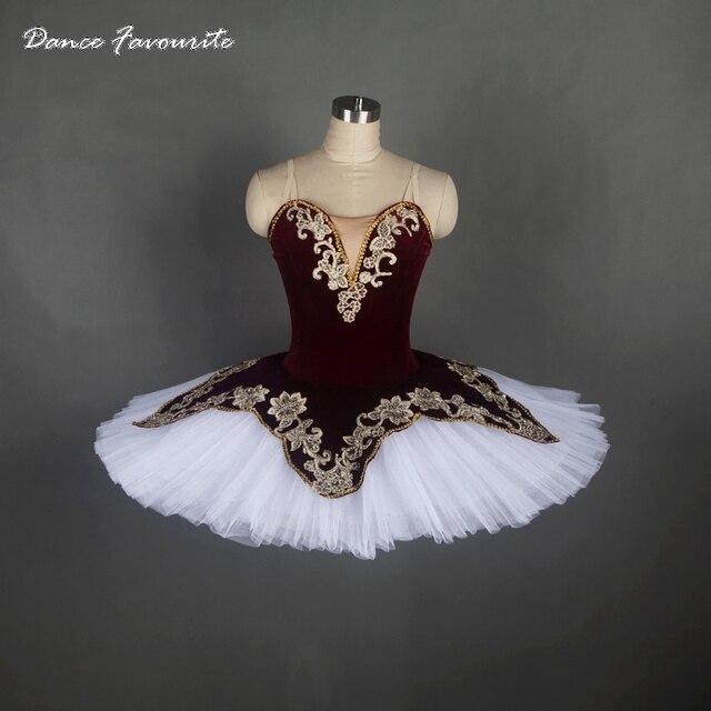 customer size made professional ballet costume tutu burgundy velvet