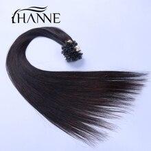HANNE nail U tip font b hair b font extensions 100 strands 50g black and brown
