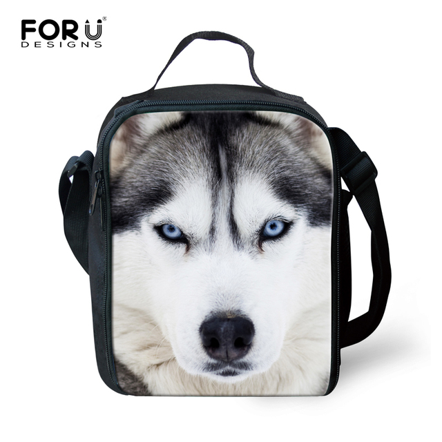 FORUDESIGNS High Men Lunch Bag Cool 3D Animal Dog Husky Print Lunchbag for Women insulated Adult Lunch Box lancheira termica
