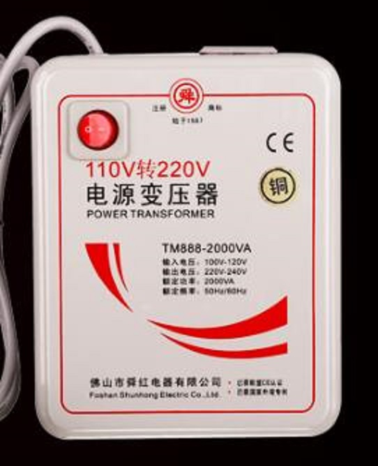 Livraison rapide TM888-2000VA 110 v à 220 v 2000 W abaisseur transformateur de convertisseur de tension convertit avec bobine de cuivre pur