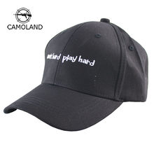 c5ea028cde42a3 2018 New Embroidery Letter Work Hard Play Hard Baseball Cap Men Women Black  White Pink Hip Hop Snapback Male Female Dad Hats