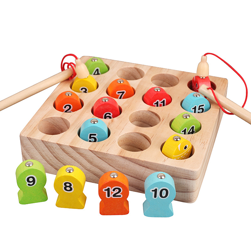 Baby Educational Toys Digit Fish Wooden Magnetic Fishing Toy Set Fish Game Educational Fishing Toy Child Birthday/christmas Gift