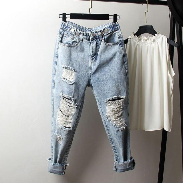 Vintage Boyfriend Jeans Per Le Donne A Vita Alta Allentato Strappato Jeans Femme Denim Pantaloni Stile Harem Streetwear Più Il Formato Mamma Jeans 4XL Q1413