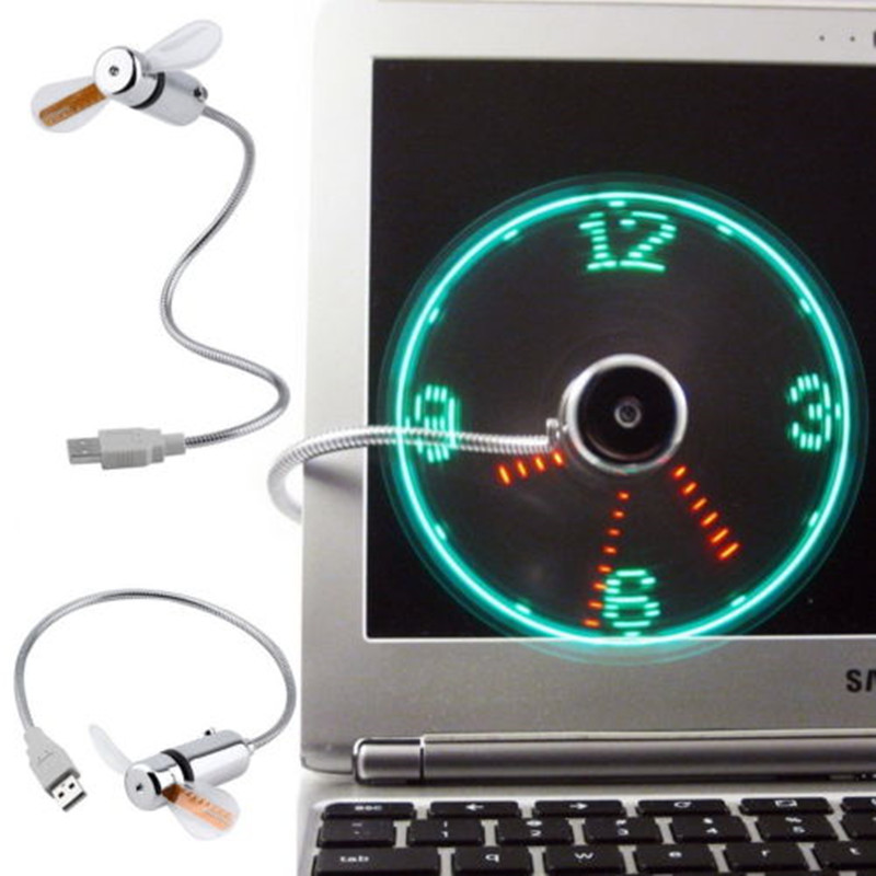 Mini lindo USB Fan gadgets Flexible Gooseneck LED Clock Cool Para PC portátil Notebook Time Display de alta calidad duradero Ajustable