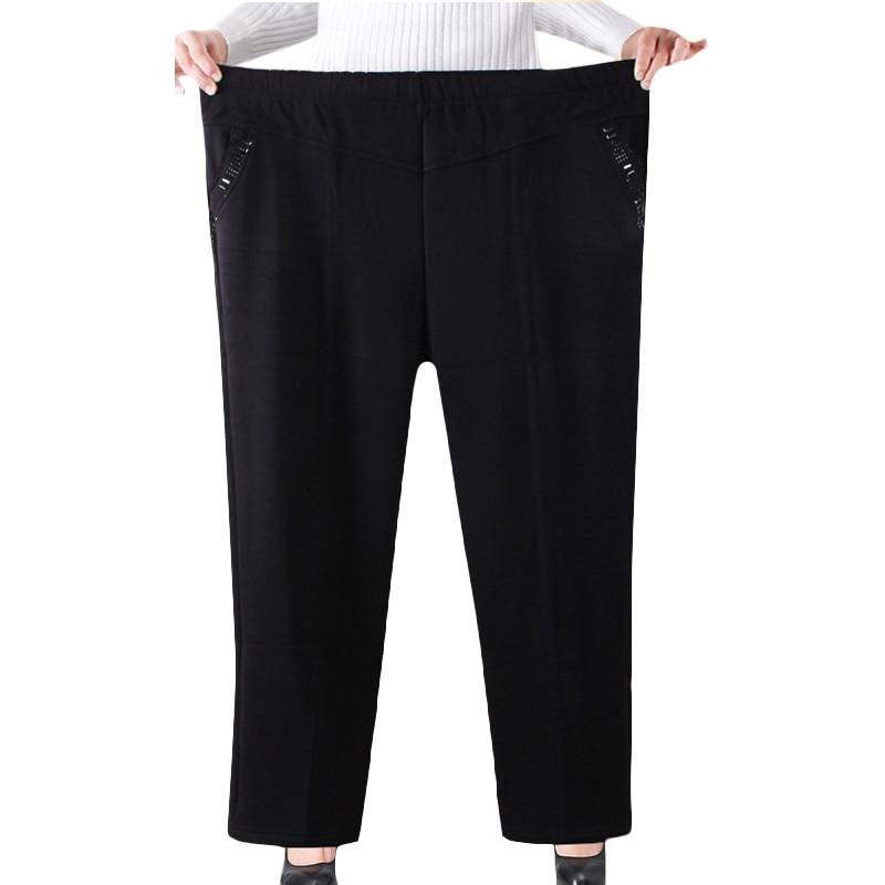 XL-8XL Oversized Spring Autumn Straight Pants Women High Elastic Waist Casual Middle-age Winter Velvet Trousers Plus Size Black