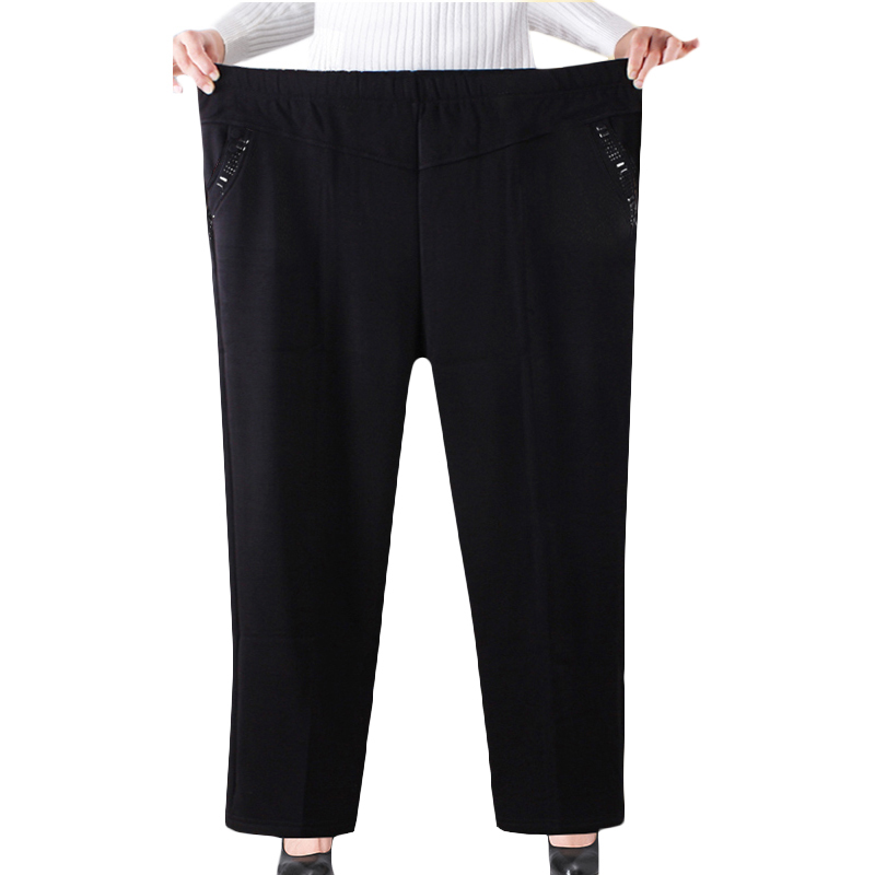 XL-<font><b>8XL</b></font> Oversized Spring Autumn Straight <font><b>Pants</b></font> Women High Elastic Waist Casual Middle-age Winter Velvet Trousers <font><b>Plus</b></font> <font><b>Size</b></font> <font><b>Black</b></font> image