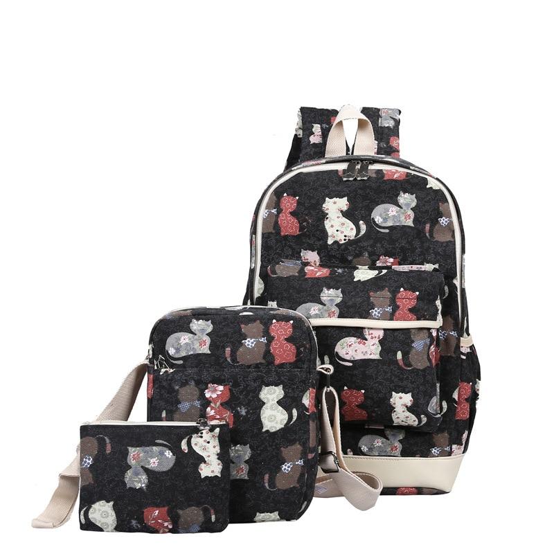 купить Women 3/sets Cat Print Daily Backpacks for Teenage Girls School Bags Rucksack Lady Backpack Canvas Backpack Vintage Travel Bag недорого