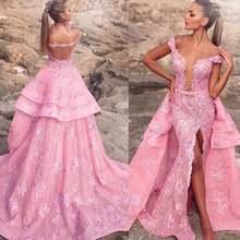 Женское вечернее платье со съемным шлейфом розовое кружевное