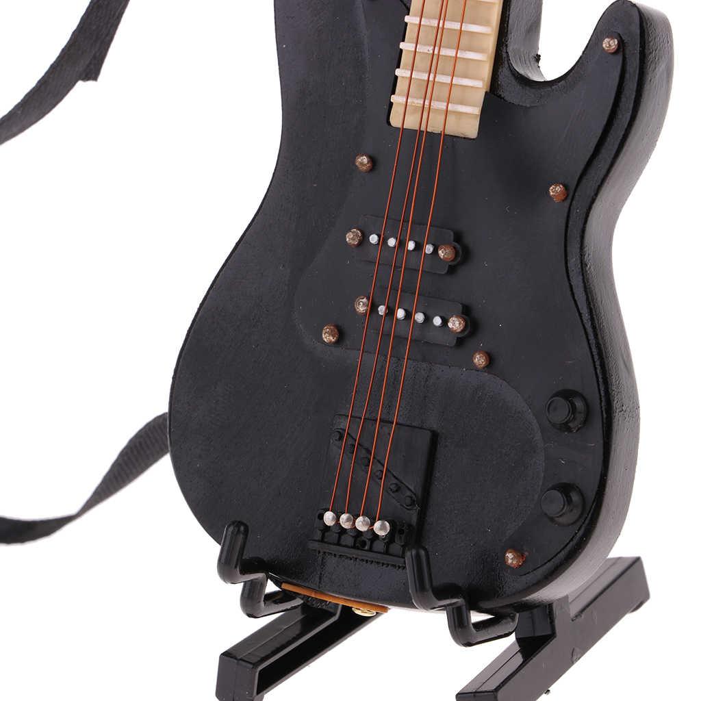 Handgemachte 1/6 Musical Instrument Handwerk Holz Elektrische Bass Gitarre mit Stand für Hot Toys für 1/6 BJD Puppen Haus