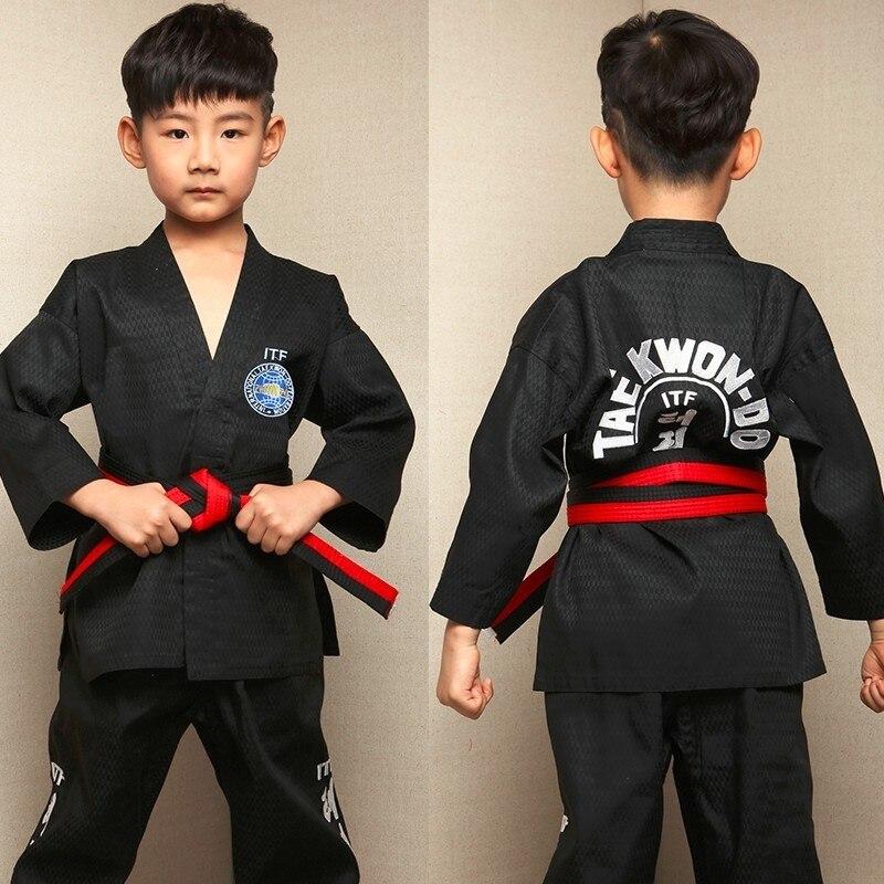 Kids Taekwondo Dobok TKD Cotton & Bamboo Fiber Uniform WTF Series Of Children Black White