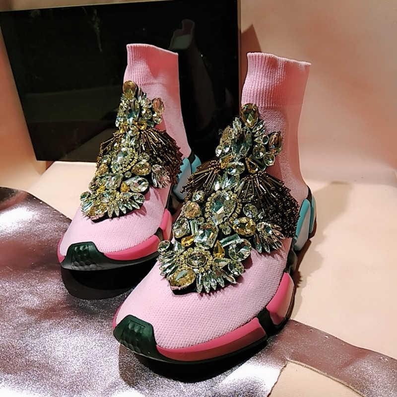 Women Rhinestone Casual Shoes Crystal Socks Sneaker Pink Crystal Sneakers  Women Lady Tassels Knitted Socks Casual b9fefcd31bf2