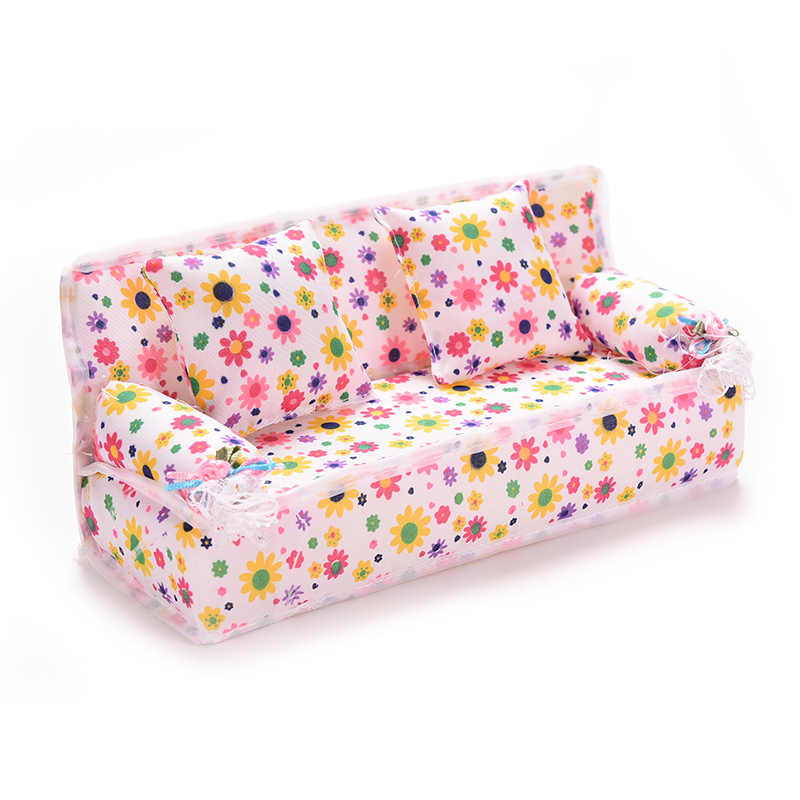 Hot sale Flower Sofa 20cm Couch +2 Cushions For Doll House Accessories Mini Furniture