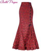 Belle Poque Vintage Skirts Womens 2017 Retro Gothic Saia Jacquard Sexy Fishtail Slim OL Corset Style