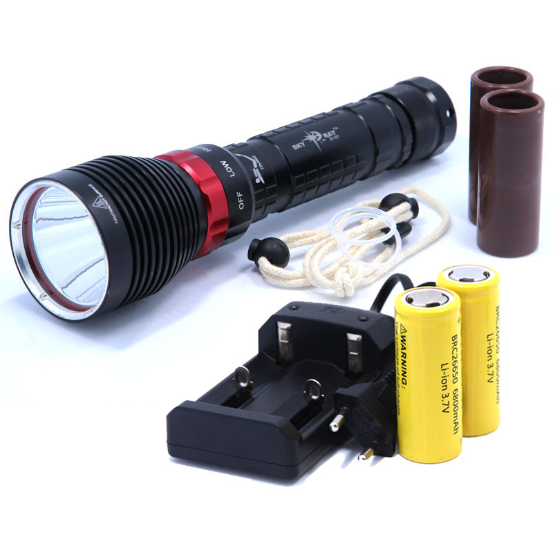 DX1 XM-L XML XM-L2 15W 2000LM Waterproof LED Diving Flashlight Underwater Lamp Torch Flash Light +2*26650 Battery + Charger waterproof df007 diving flashlight xml 2 magnetron switch underwater led light without battery
