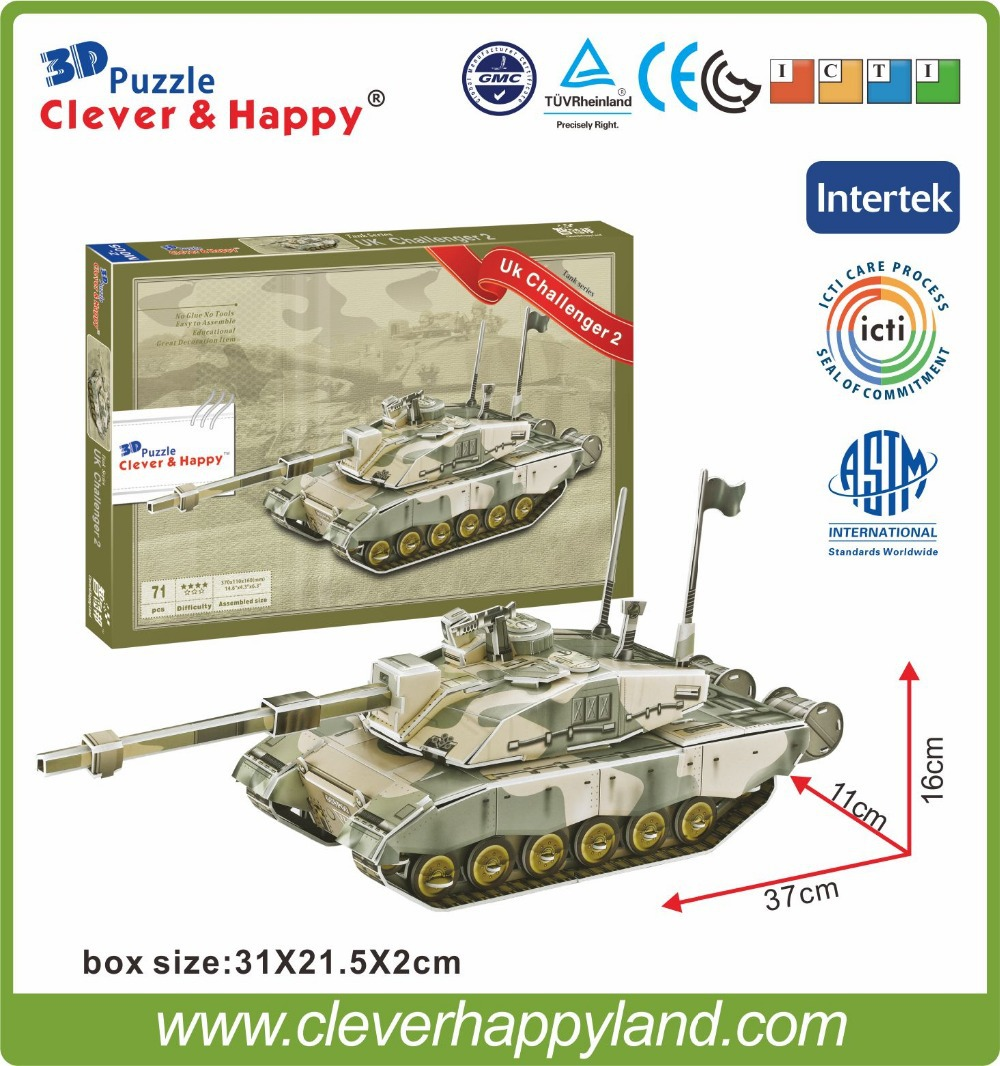 2014 new design wholesale 3d tank puzzle Model Paper UK Challenger 2